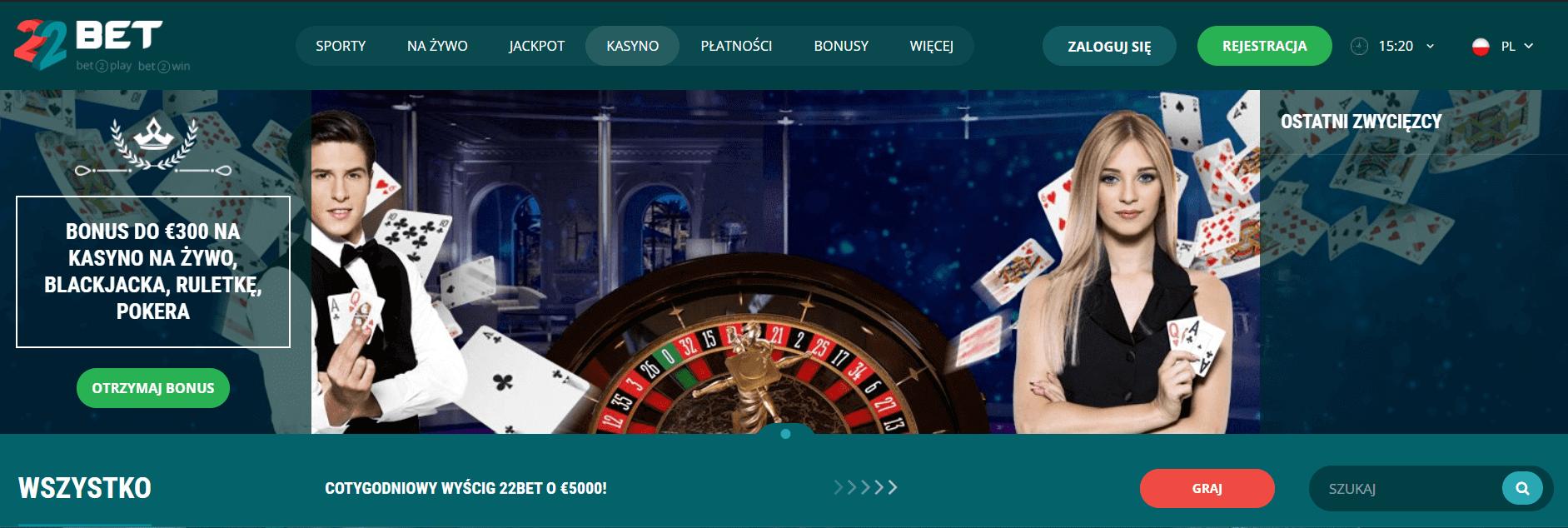 22bet bonusy casino screenshot