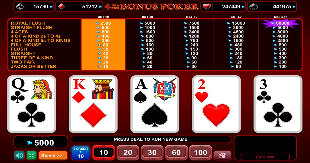 4 of a kind bonus poker egt video poker