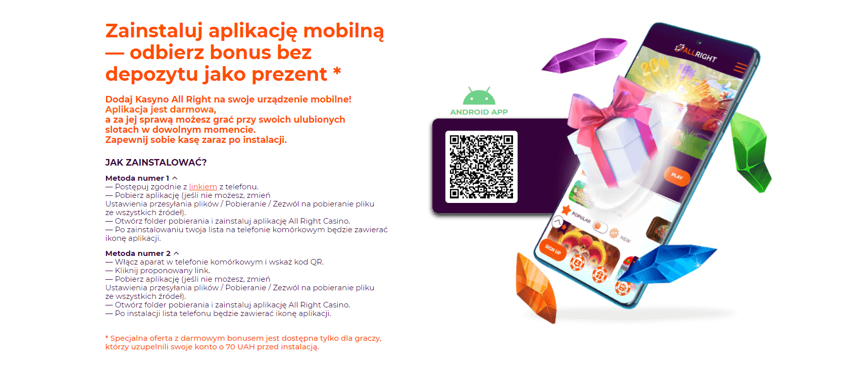 allrightcasino mobilne kasyno aplikacja screenshot