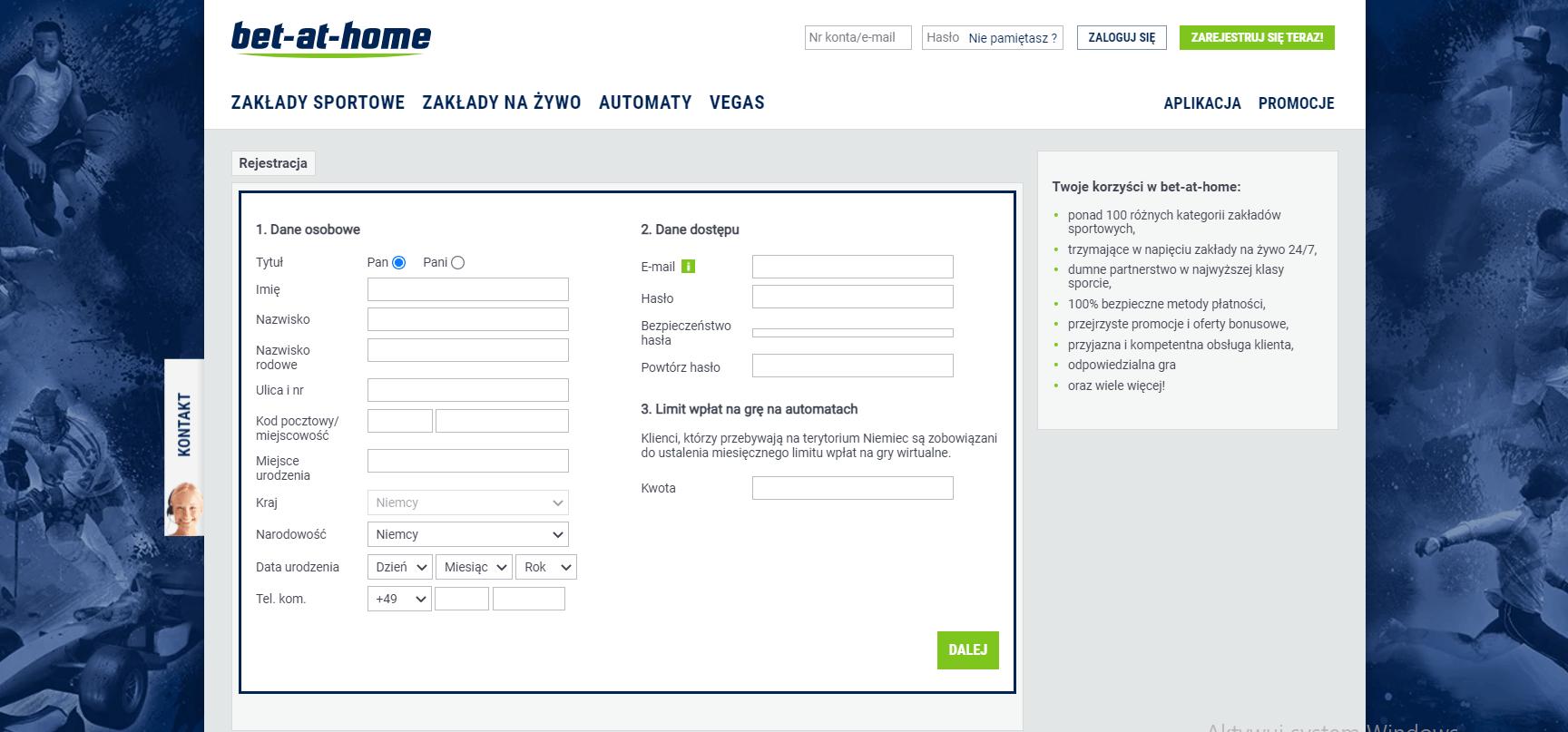 bet at home logowanie screenshot
