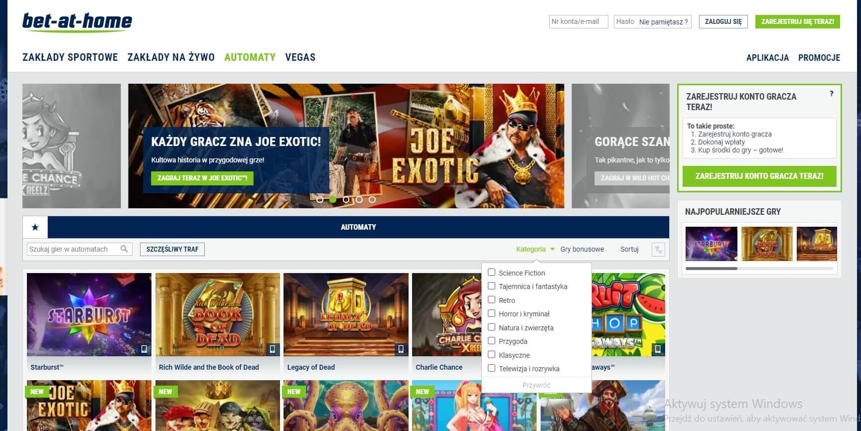 bet at home automaty hazardowe screenshot