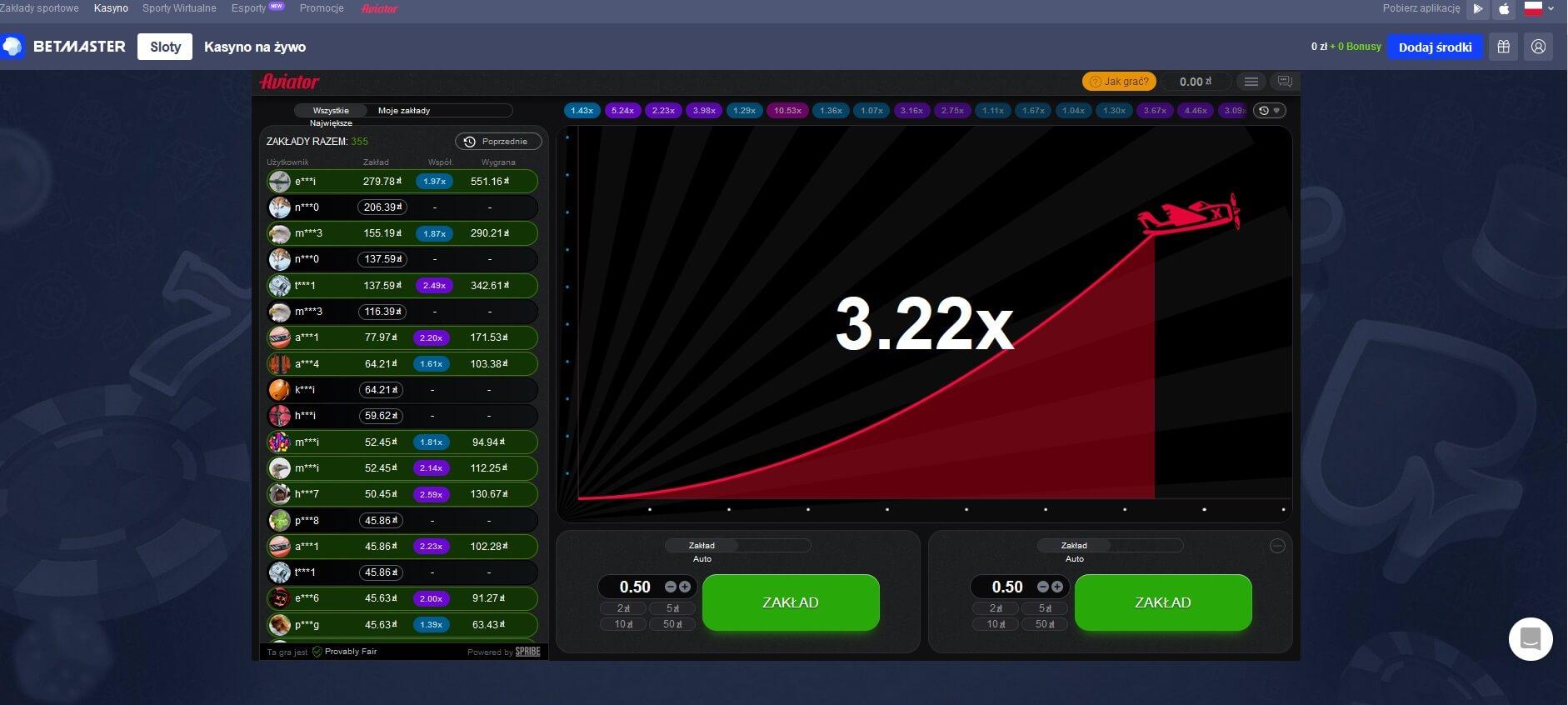 betmaster casino gra aviator screenshot