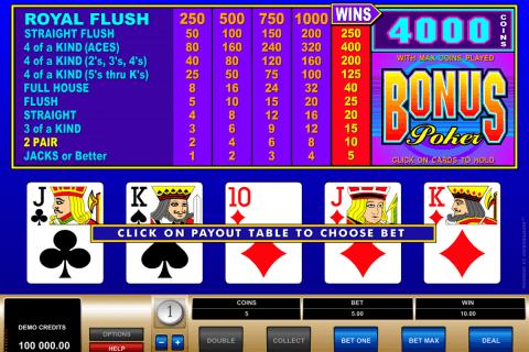 bonus poker microgaming video poker