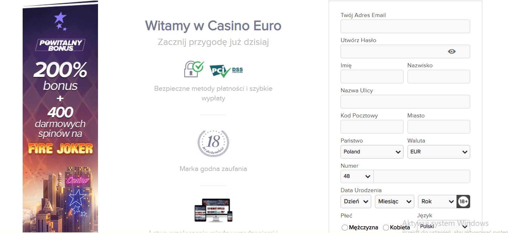 casinoeuro rejestracja i logowanie screenshot