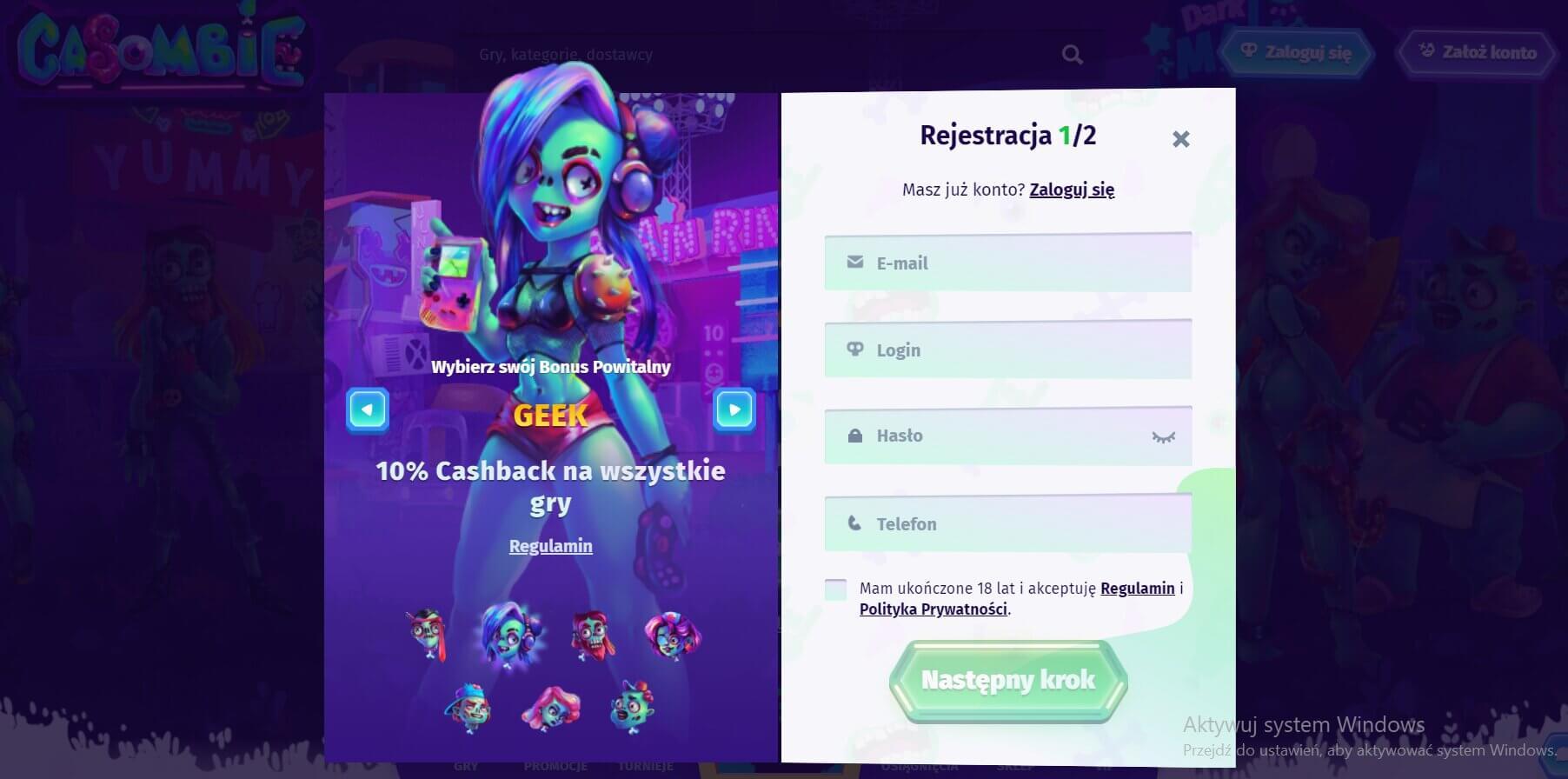 rejestracja w casino casombie screenshot
