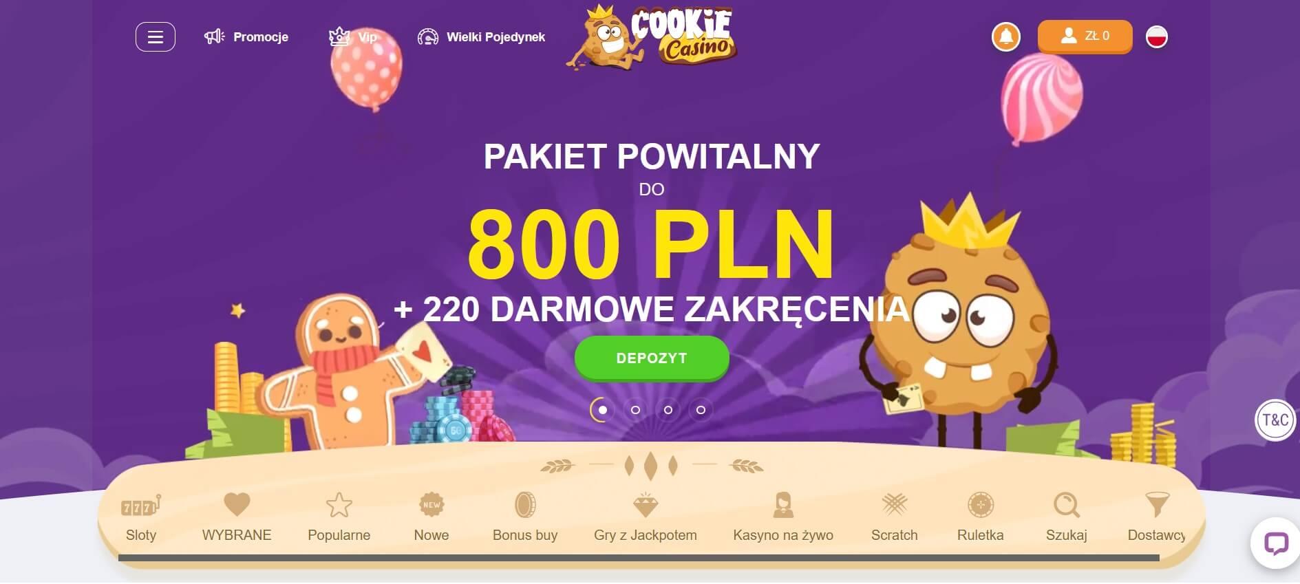 cookie casino bonus powitalny screenshot