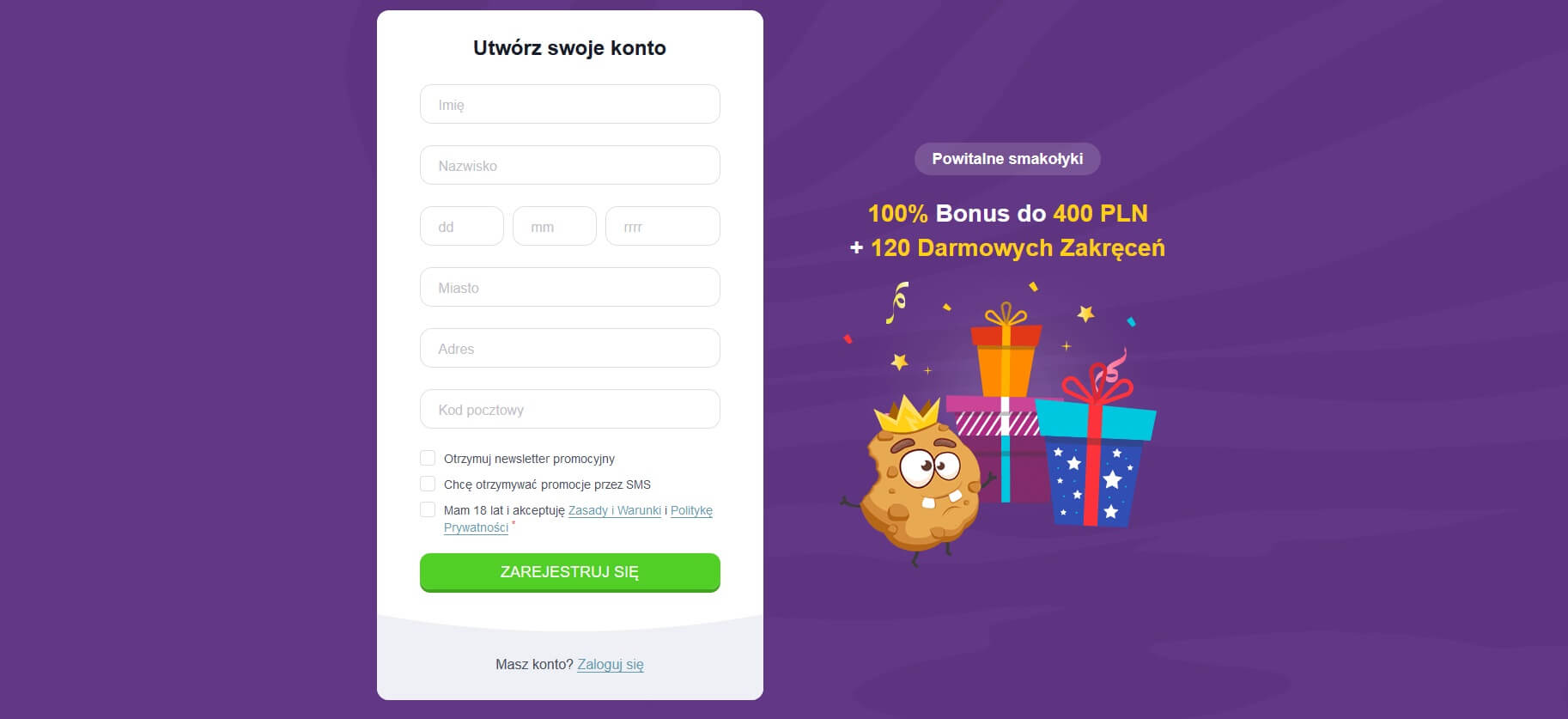 cookie casino rejestracja i logowanie screenshot