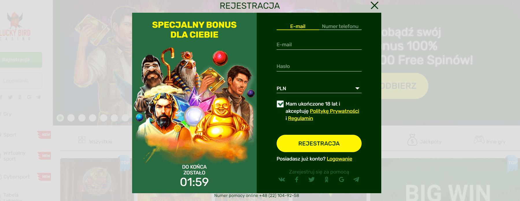 lucky bird casino rejestracja i logowanie screenshot