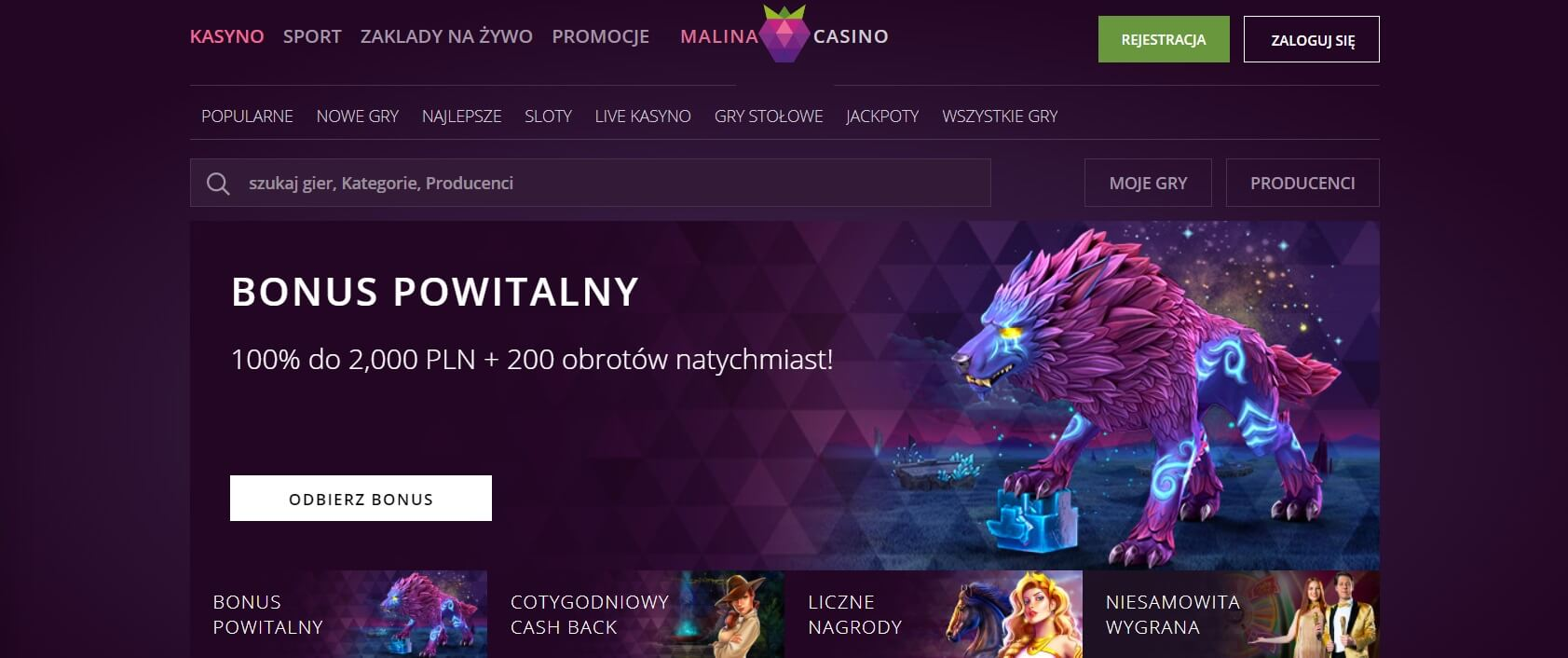 malina casino bonus powitalny screenshot