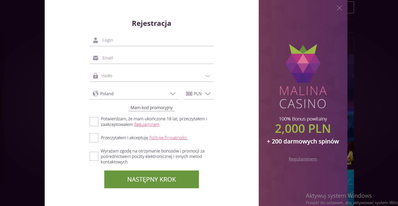 malina kasyno logowanie i rejestracja screenshot