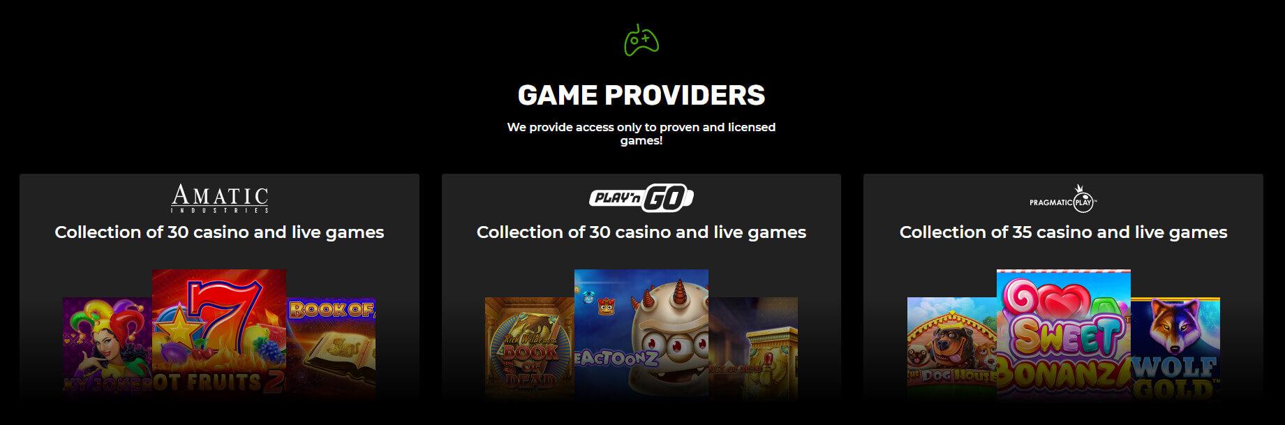 n1casino dostawcy gier hazardowych screenshot