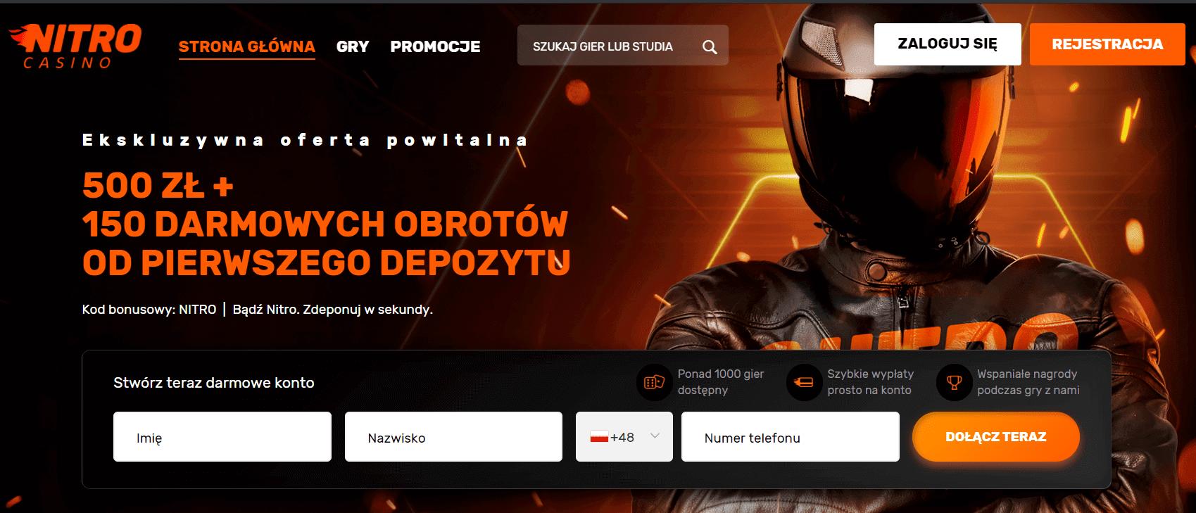 nitro casino kod bonusowy powitalny screenshot