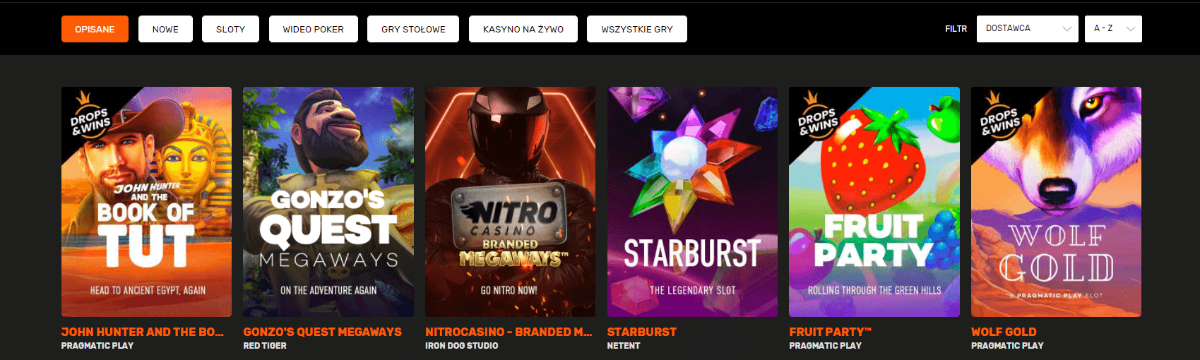 nitro casino gry hazardowe sloty screenshot