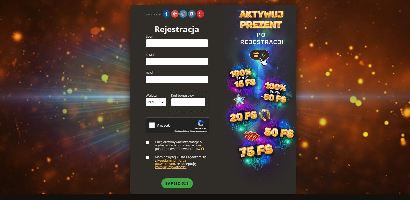 olayfortuna casino rejestracja i logowanie screenshot
