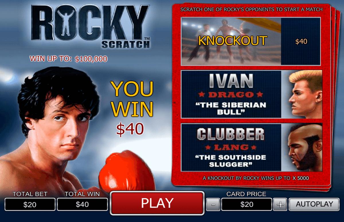 rocky scratch playtech zdrapka online