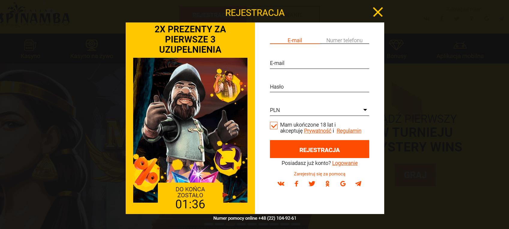 spinamba rejestracja screenshot