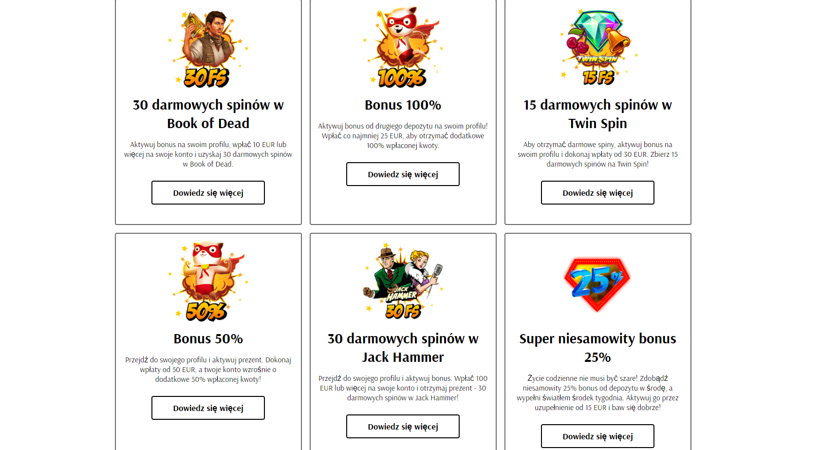 supercat casino bonus powitalny screenshot