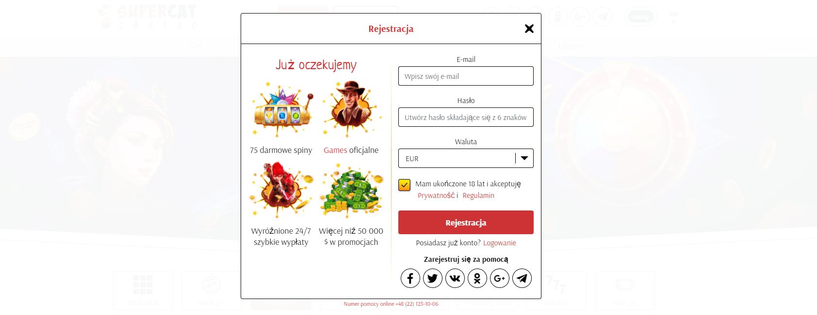supercat casino rejestracja i logowanie screenshot