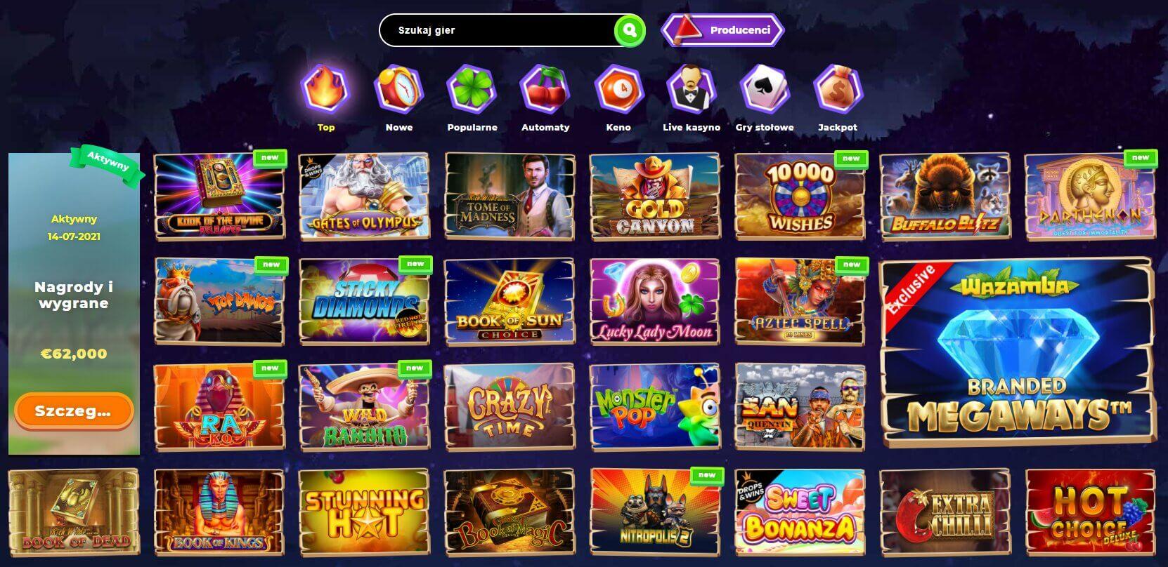wazamba casino oferta gier hazardowych screenshot